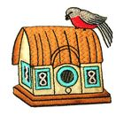 Applikation Patch Sticker Vogelhaus 8 x 7,7cm
