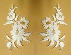 1 Paar historische Applikationen Patch Blumen Farbe: Weiss-Gold