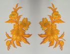 1 Paar historische Applikationen Patch Blumen Farbe: Orange-Gold