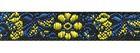 19,80m Jacquard Borten Webband Blumen 10mm breit Farbe: Schwarz-Blau-Gelb