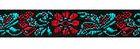19,80m Jacquard Borten Webband Blumen 10mm breit Farbe: Schwarz-Rot-Türkis