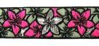 9m Blumen-Borte Webband 25mm breit Farbe: Pink-Silber-Petrol