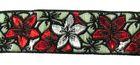 9m Blumen-Borte Webband 25mm breit Farbe: Rot-Silber-Petrol