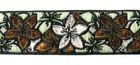 9m Blumen-Borte Webband 25mm breit Farbe: Braun-Silber-Petrol