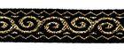 18m Mittelalter-Borte Webband 12mm breit Farbe: Schwarz-Lurexgold