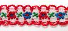 20m Schlaufenborte Blumen Webband 13mm breit Farbe: Rot-Weiss