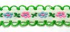 20m Schlaufenborte Blumen Webband 13mm breit Farbe: Grün