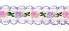 20m Schlaufenborte Blumen Webband 13mm breit Farbe: Blau