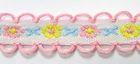 20m Schlaufenborte Blumen Webband 13mm breit Farbe: Rosa