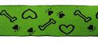 10m Borten Webband Hundemotiv Applikation 22mm breit Farbe: Grün-Schwarz