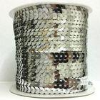 72m Paillettenband 6mm breit Plan Farbe: Silber-UNI