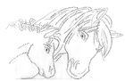 Bügelbild Bügelmotiv Strass 2 Pferde 32 x 20cm