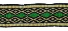 10m Retro Borte Webband 20mm breit Farbe: Grün-Beige