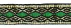 10m Retro Borte Webband 12mm breit Farbe: Grün-Beige