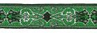 10m Brokat Borte Webband 18mm breit Farbe: Hellgrün-Lurexsilber