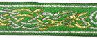 10m Brokat Borte Webband 22mm Farbe: Grün-Lurexgold-Lurexsilber