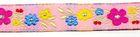 1m Blumen-Borte Webband 12mm breit Farbe: Pink-Gelb-Rot-Blau