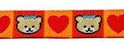 1m Bärchen-Borte Webband 12mm breit Farbe: Terracotta-Rot-Beige