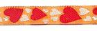 1m Herzen-Borte Webband 12mm breit Farbe: Terracotta-Rot-Weiss