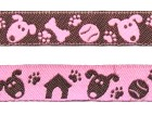 22m Hunde-Borte Webband 12mm breit Farbe: Rosa-Braun