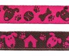 22m Hunde-Borte Webband 12mm breit Farbe: Fuchsia-Braun