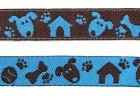 22m Hunde-Borte Webband 12mm breit Farbe: Blau-Braun