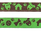 22m Hunde-Borte Webband 12mm breit Farbe: Grün-Braun