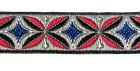 22m Retro-Borte Webband 12mm breit Farbe: Rot-Blau-Grau-Silber
