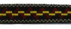 22m Retro-Borte Webband 12mm breit Farbe: Gelb-Bordeaux-Schwarz