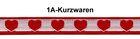 1m Borte Webband 12mm breit Farbe: Herzen Dunkelrot-Weiss TH15-48