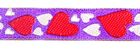1m Herzen-Borte Webband 12mm breit Farbe: Lila-Rot-Weiss