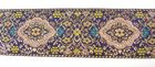 9m Brokat Borte Webband 50mm breit Farbe: Blau-Altrosa-Gold
