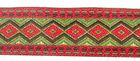 25m Borte Webband 33mm breit Farbe: Rot-Grün-Dunkelbraun-Gold