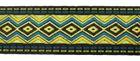25m Borte Webband 33mm breit Farbe: Neongrün-Blau-Schwarz-Gold
