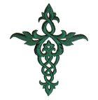 Applikation Patch Tribal Kreuz 12x 14cm Farbe: Tannengrün