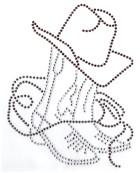 Bügelmotiv Country Cowboy-Stiefel mit Hut 15,5 x 20cm Fareb: Braun-Anthrazit