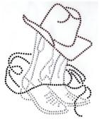 Bügelmotiv Country Cowboy-Stiefel mit Hut 15,5 x 20cm Farbe: Braun-Schwarz