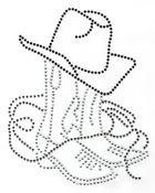 Bügelmotiv Country Cowboy-Stiefel mit Hut 15,5 x 20cm