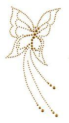 Bügelbild Studs Schmetterling 9,5x18,5cm Farbe: Gold