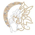 Applikation Bügelmotiv Strass Elfe 14x15cm Farbe: Gold