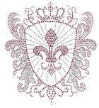 Bügelbild Applikation Wappen 19,5 x 21,5cm Farbe: Pink-Crystal