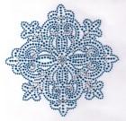 Strass Applikation Weihnachten Eiskristall 15 x 15cm Farbe: Blau
