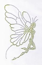 Applikation Bügelbild Strass Elfe 16 x 10cm Farbe: Neongrün-Silber