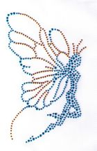 Applikation Bügelbild Strass Elfe 16 x 10cm Farbe: Blau-Gold