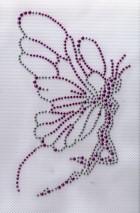 Applikation Bügelbild Strass Elfe Farbe: Lila 16 x 9cm