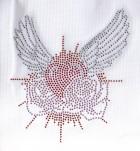 Bügelbild Herz mit Flügel Strass 15 x 17,5 cm