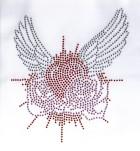 Bügelbild Herz mit Flügel Studs 15 x 17,5 cm