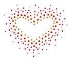 Bügelbild Applikation Herz 12 x 10cm Farbe: Gold-Orange-Rot