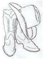 Bügelbild Line Dance Stiefel mit Hut 14,5 x 21cm Farbe: Black Diamond