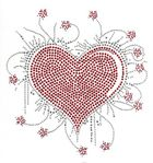 Bügelbild Applikation Herz 20 x 21cm Farbe: Rot-Silber